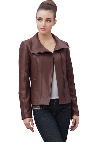 bgsd womens johanna funnel neck lambskin leather moto jacket