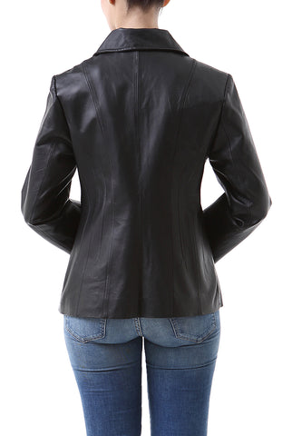 "BGSD Women's ""Tina"" Vertical Seam Leather Scuba Jacket - Petite"