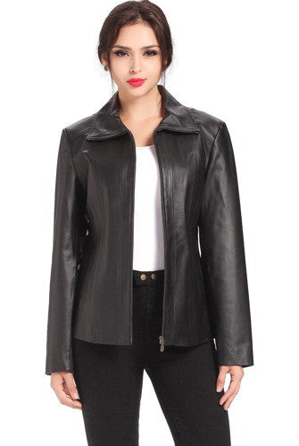 "BGSD Women's ""Tina"" Lambskin Leather Scuba Jacket"