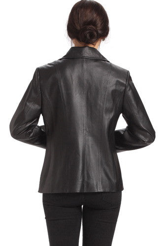 "BGSD Women's ""Tina"" Vertical Seam Leather Scuba Jacket"