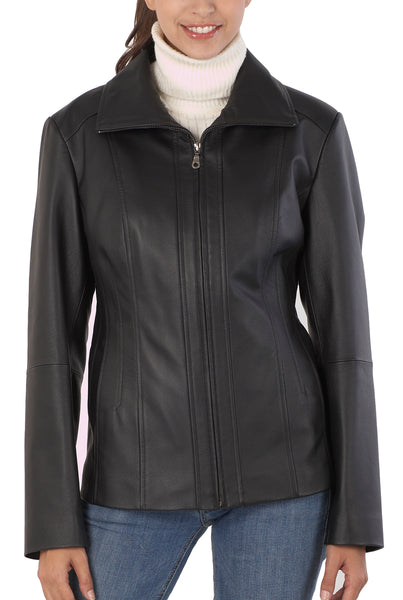 "BGSD Women's ""Tina"" Vertical Seam Leather Scuba Jacket - Plus Short"