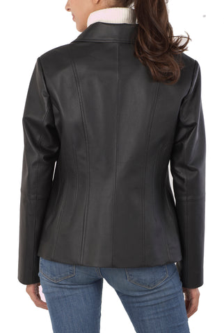 "BGSD Women's ""Tina"" Vertical Seam Leather Scuba Jacket - Plus"