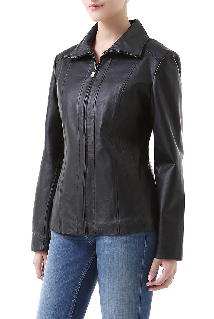 "BGSD Women's ""Tina"" Vertical Seam Leather Scuba Jacket - Short"