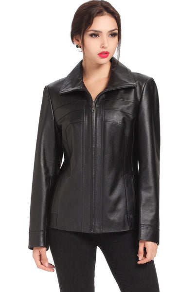 "BGSD Women's ""Kim"" Bow Seam Leather Scuba Jacket"