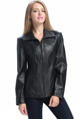"BGSD Women's ""Kim"" Bow Seam Leather Scuba Jacket - Petite"