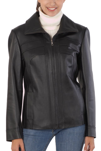 "BGSD Women's ""Kim"" Bow Seam Leather Scuba Jacket - Plus Short"