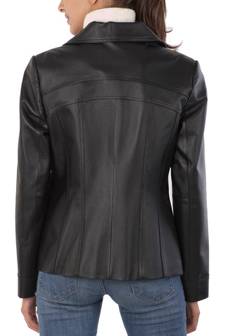 "BGSD Women's ""Kim"" Bow Seam Leather Scuba Jacket - Plus"