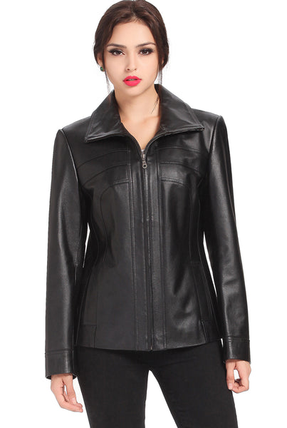 "BGSD Women's ""Kim"" Lambskin Leather Scuba Jacket"