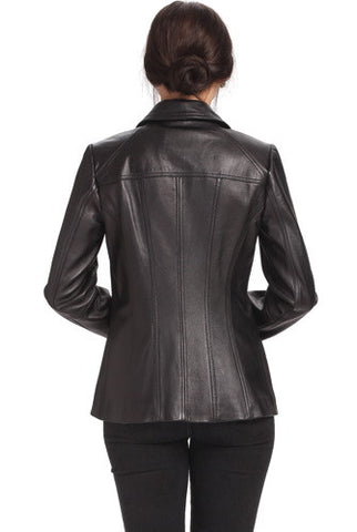 "BGSD Women's ""Ellen"" Lambskin Leather Scuba Jacket - Plus Short"