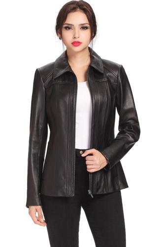 "BGSD Women's ""Ellen"" Lambskin Leather Scuba Jacket - Short"