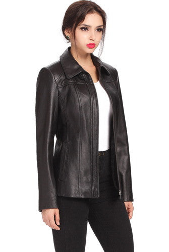 "BGSD Women's ""Ellen"" New Zealand Lambskin Leather Jacket - Plus"