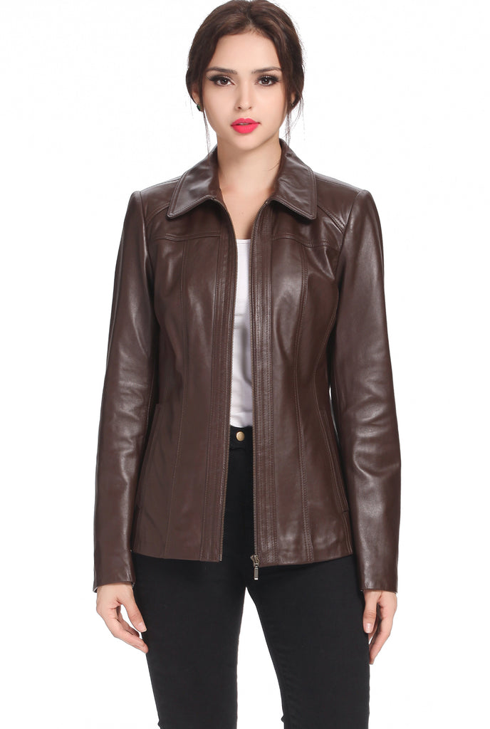 "BGSD Women's ""Ellen"" New Zealand Lambskin Leather Jacket - Plus Short"