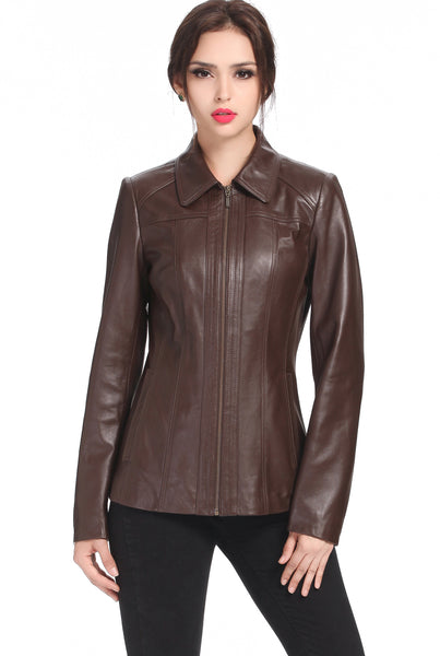 "BGSD Women's ""Ellen"" Lambskin Leather Scuba Jacket - Plus"