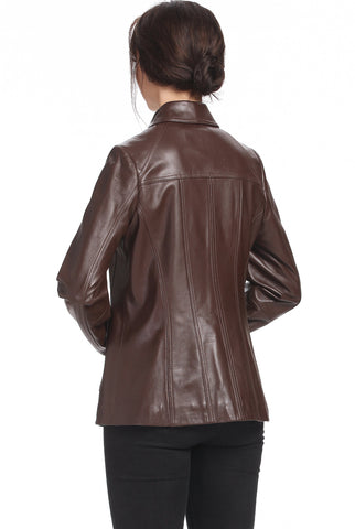 "Copy of BGSD Women's ""Ellen"" Lambskin Leather Scuba Jacket - Plus Short"