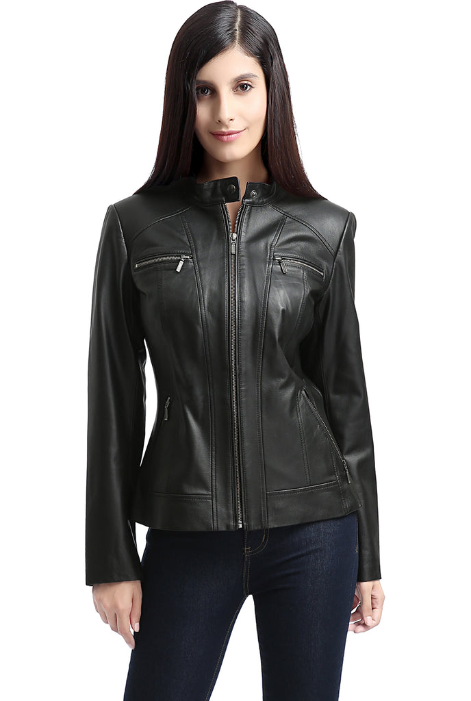 "BGSD Women's ""Mila"" Zip Front Leather Jacket"