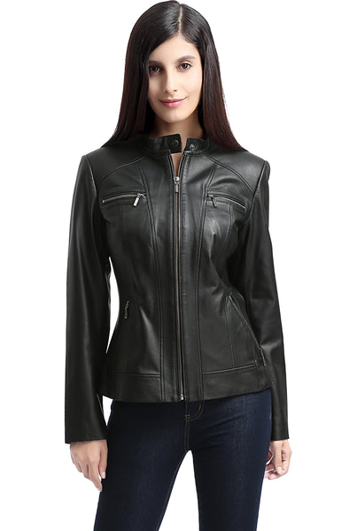 "BGSD Women's ""Mila"" Zip Front Lambskin Leather Jacket - Plus Short"