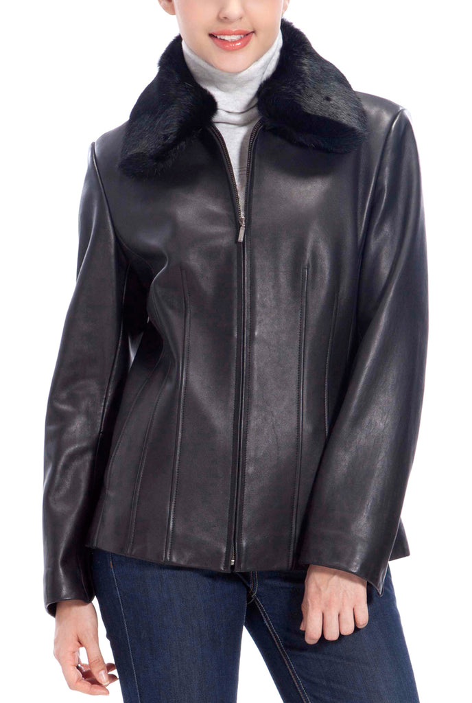 bgsd womens rabbit fur trim lambskin leather jacket plus