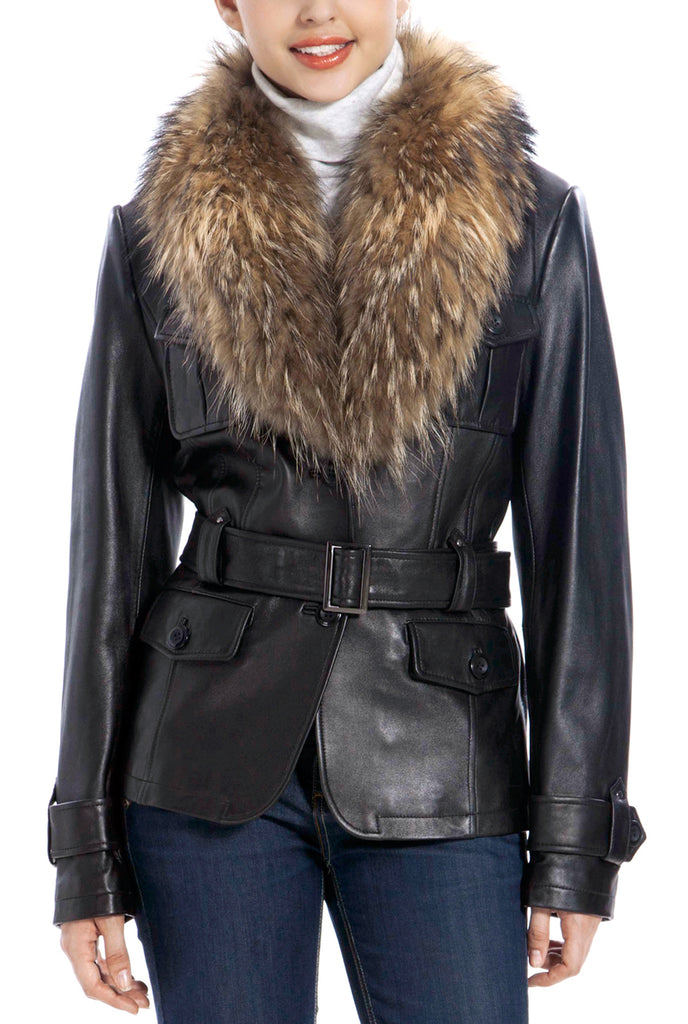 bgsd womens raccoon fur trim lambskin leather jacket