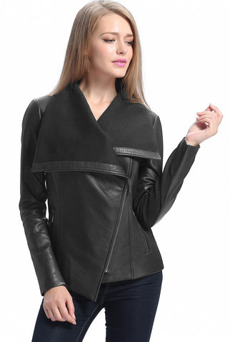 "BGSD Women's ""Lily"" New Zealand Leather Drape Jacket - Plus Short"