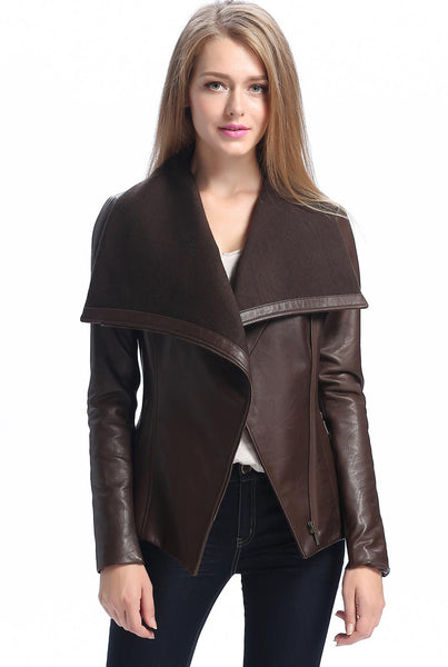 "BGSD Women's ""Lily"" New Zealand Leather Drape Jacket"