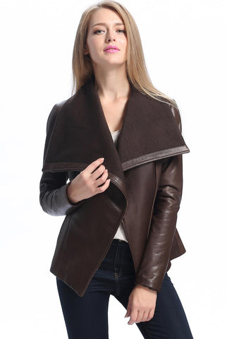 "BGSD Women's ""Lily"" New Zealand Leather Drape Jacket - Plus"