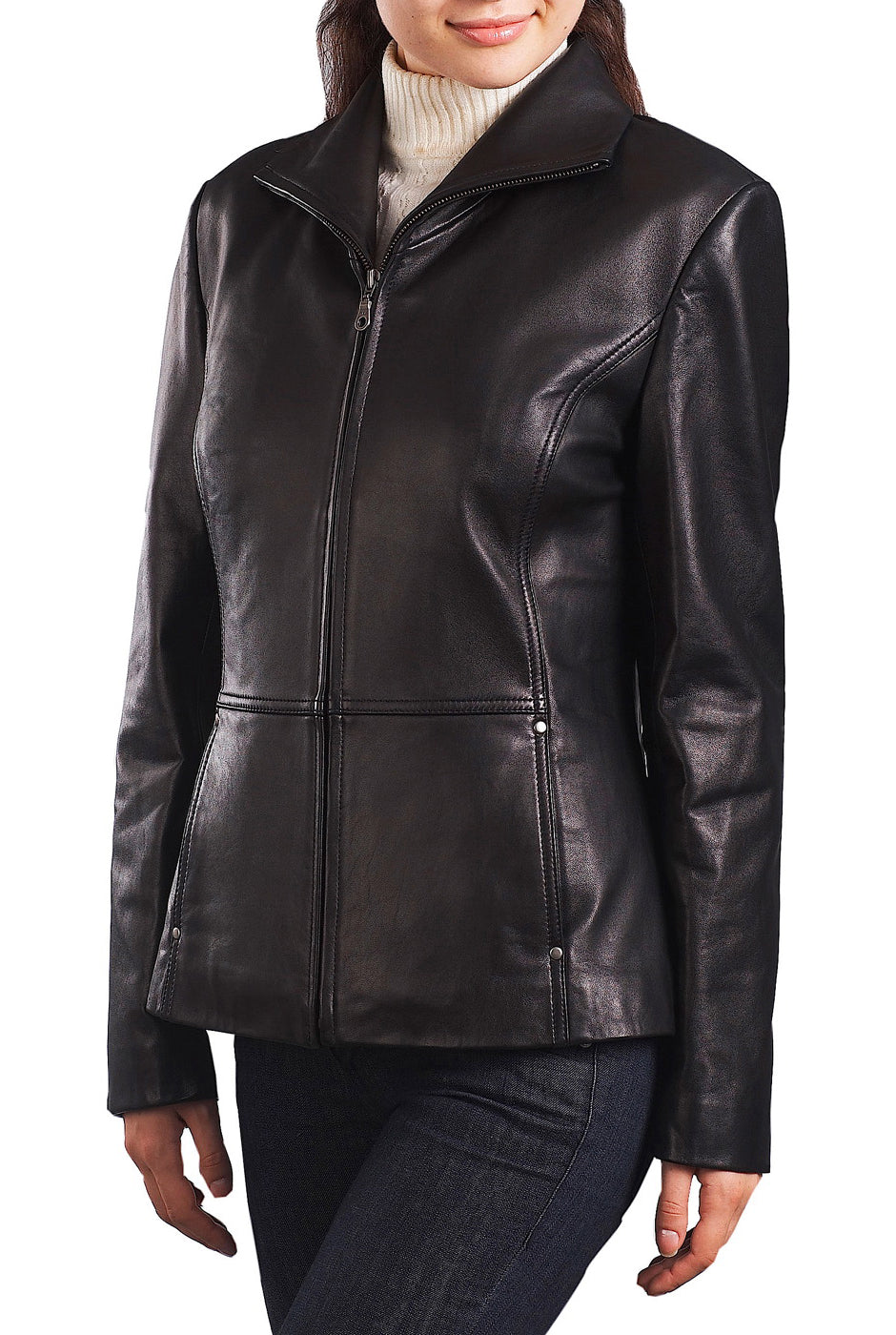 bgsd womens wing collar lambskin leather scuba jacket plus