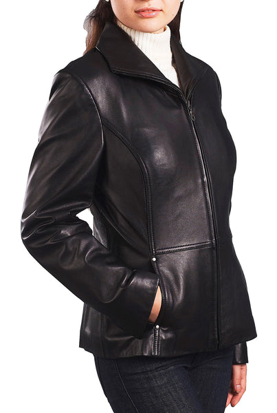 BGSD Women's Wing Collar Lambskin Leather Scuba Jacket - Plus