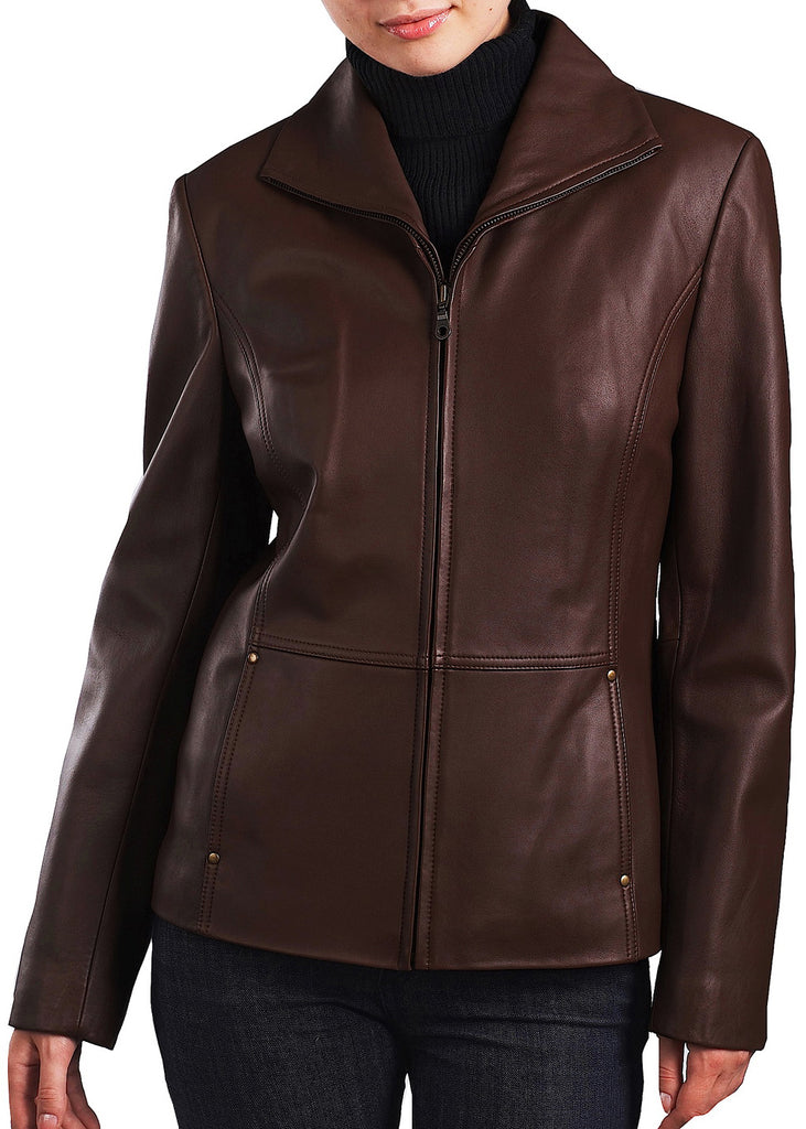 bgsd womens wing collar lambskin leather scuba jacket