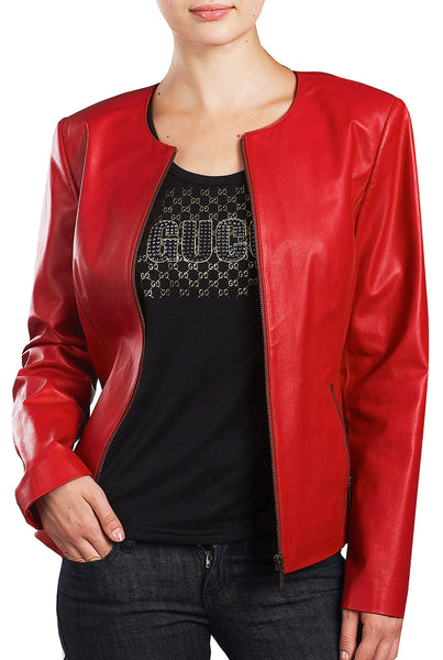 bgsd womens crop lambskin leather jacket
