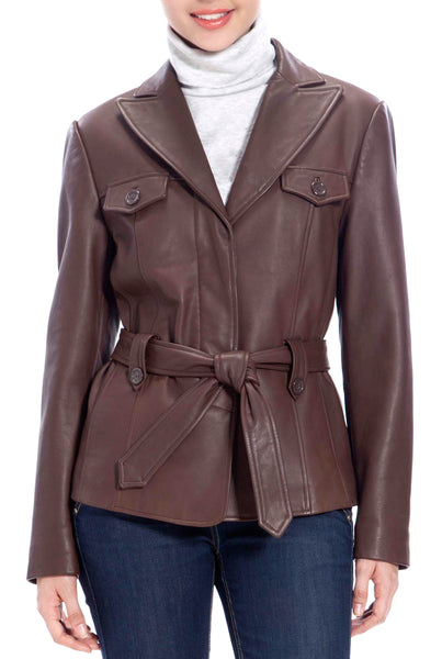 bgsd womens belted new zealand lambskin leather jacket