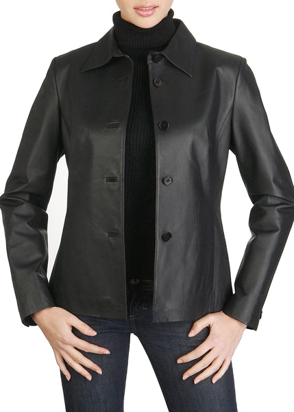 bgsd womens open collar lambskin leather jacket