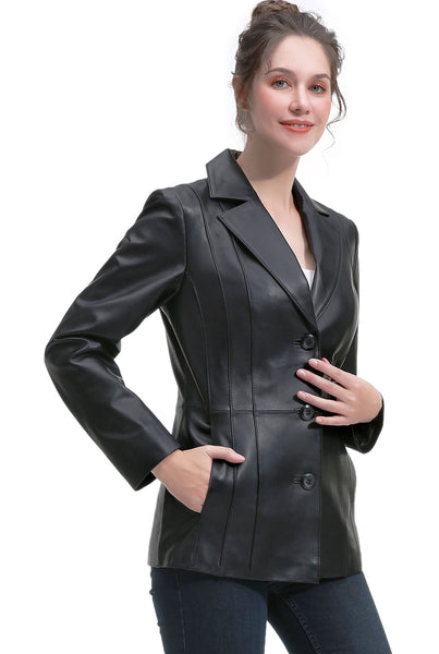 BGSD Women's New Zealand Lambskin Leather Blazer Jacket - Short