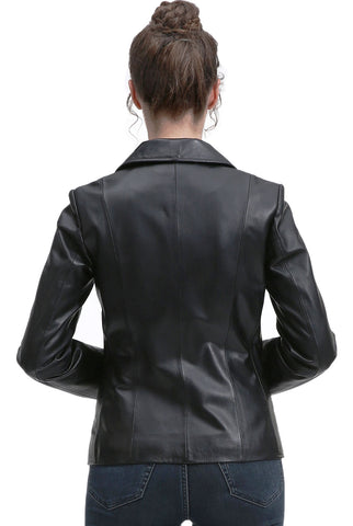 BGSD Women's New Zealand Lambskin Leather Blazer Jacket - Plus Short