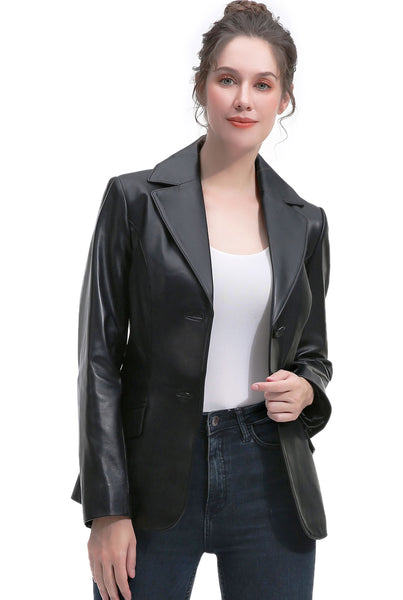 BGSD Women's New Zealand Lambskin Leather Blazer Jacket - Plus