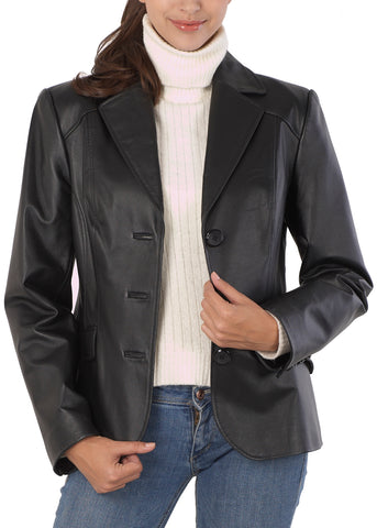 bgsd womens tammy new zealand lambskin leather blazer