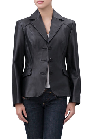 "BGSD Women's ""Tammy"" New Zealand Lambskin Leather Blazer - Petite"