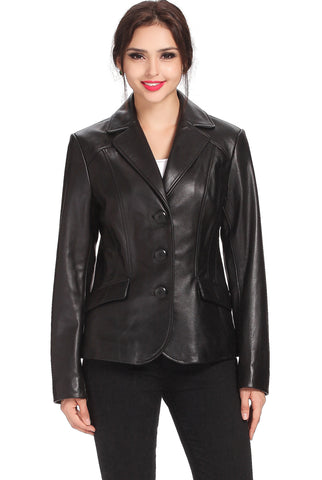 bgsd womens tammy new zealand lambskin leather blazer plus
