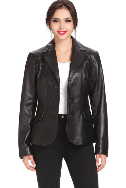 "BGSD Women's ""Tammy"" New Zealand Lambskin Leather Blazer - Plus"