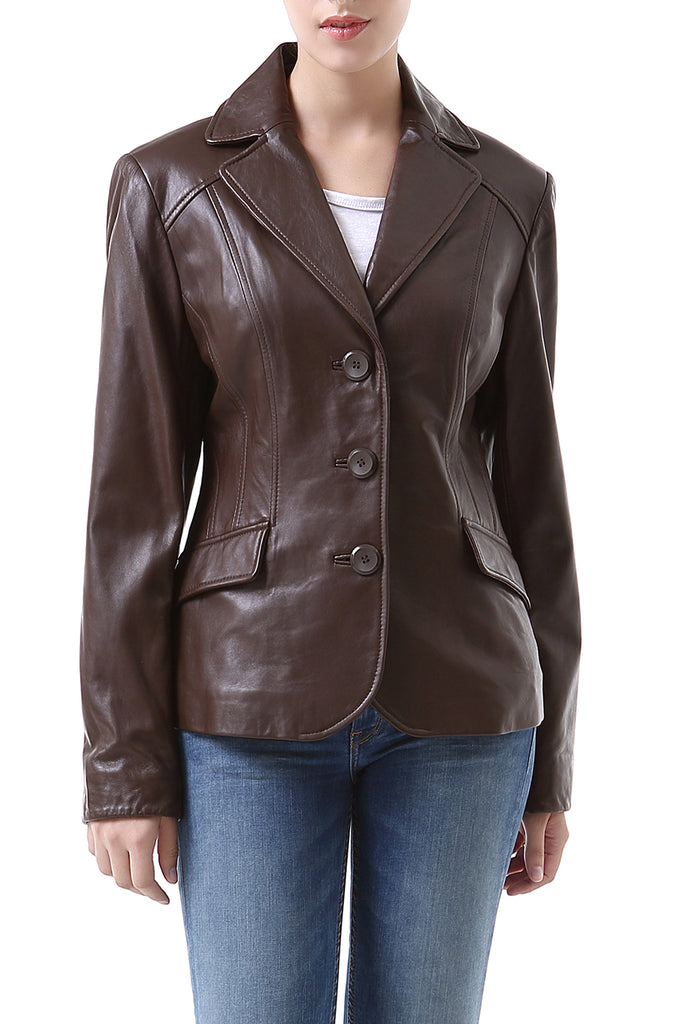 "BGSD Women's ""Tammy"" New Zealand Lambskin Leather Blazer"