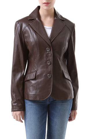 bgsd womens tammy new zealand lambskin leather blazer petite 1