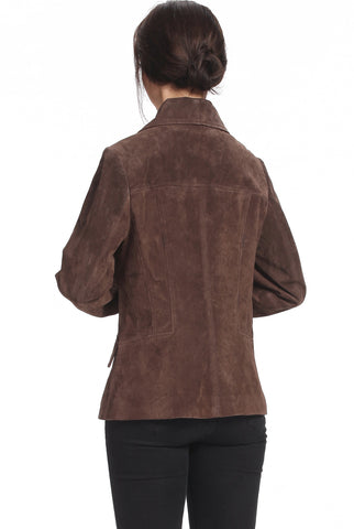 bgsd womens erica three button suede leather blazer