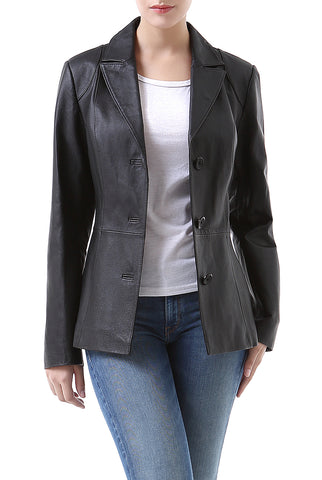bgsd womens cheryl three button leather blazer