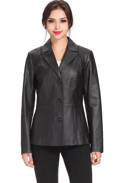 bgsd womens cheryl three button leather blazer plus