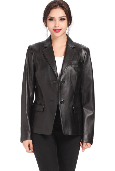 bgsd womens kristina new zealand lambskin leather blazer plus
