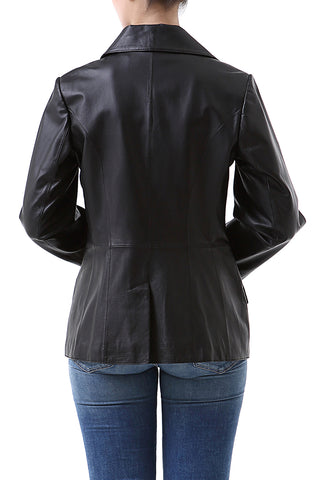 bgsd womens angie two button leather blazer