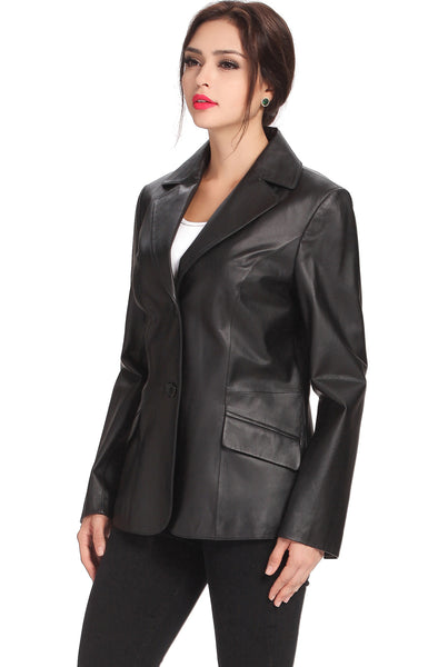 bgsd womens angie two button leather blazer plus