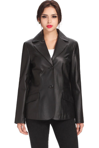 "BGSD Women's ""Angie"" Two Button Leather Blazer - Plus"