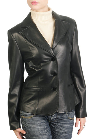 bgsd womens heritage three button lambskin leather blazer