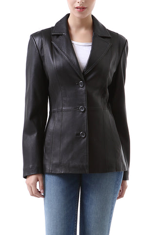 "BGSD Women's ""Crystal"" New Zealand Lambskin Leather Blazer - Short"