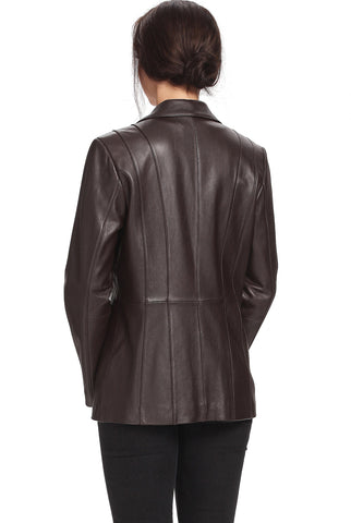 "BGSD Women's ""Crystal"" Three-Button Lambskin Leather Blazer - Plus Short"